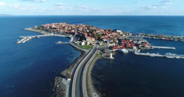 4K aerial footage of Nessebar, ancient city on the Black Sea coast of Bulgaria.