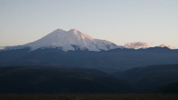 Timelapse - beautifull landscape view of the mount Elbrus at sunset - the highest mountain in Europe. Caucasus mountains at autumn season time.