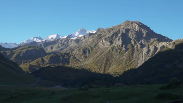 Beautifull landscape view of Ushtulu canyon at Caucasus mountains near mount Elbrus - the highest mountain in Europe.