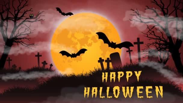 Absztrakt színes animáció - Happy Halloween háttér. Ijesztő mozgó fák, a temető és a repülő denevérek Hold égre - varrat nélküli hurok.