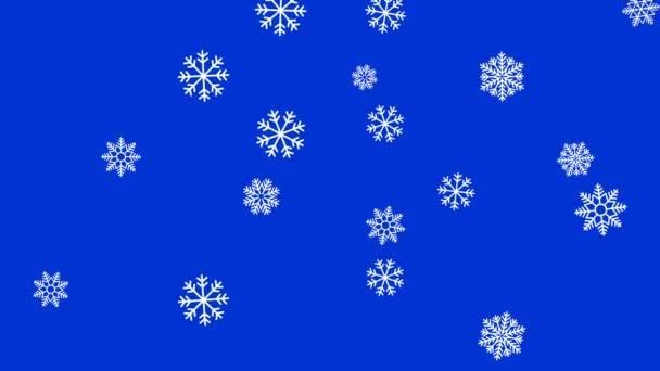 Abstract Christmas animation - stylized snowflakes color background. snowflakes falling and rotating - seamless loop.