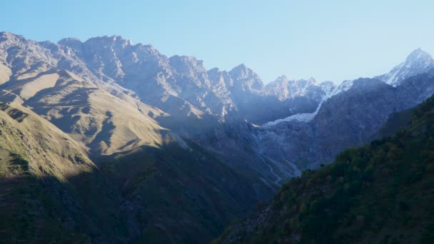 Beautifull landscape sunrise view of Ushtulu canyon at Caucasus mountains near mount Elbrus - the highest mountain in Europe.