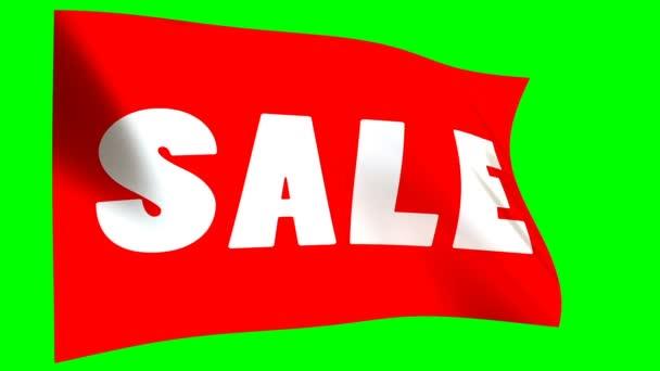 rote Verkaufsfahne - Loopanimation auf grünem Hintergrund. Online-Shopping-Banner - nahtlose Schleife..