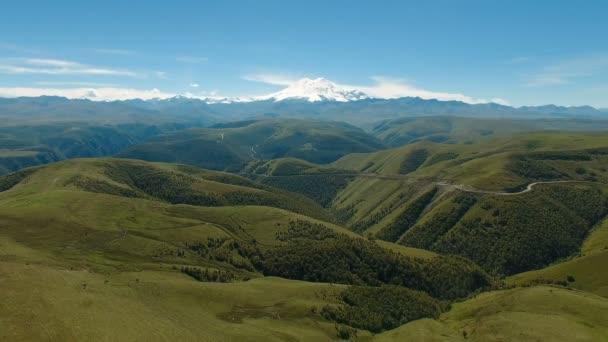 Aerial landscape view of Caucasus mountains near mount Elbrus - the highest peak in Europe