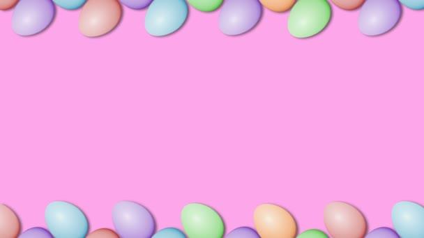 Húsvéti tojás határ keretben. Húsvéti tojások forgó-zökkenőmentes körkörös színes háttér animáció.