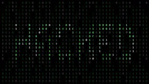 Hacked-bináris kód háttér számjegy mozog a képernyőn. Bináris algoritmus, adatkód, visszafejtés és kódolás, sor mátrix folytonos hurok absztrakt háttér.