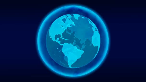 Digitaler blauer Planet Erde. Loopable 3d Animation mit rotierendem Globus mit leuchtenden Kontinenten. Abstraktes globales Geschäftskonzept.