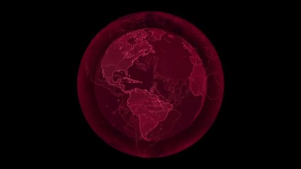 Digital planet Earth. Loopable 3D animation with rotating globe with shining continents. Abstract global business concept.