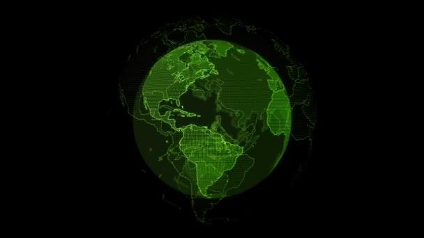 Digitální zelená planeta Země. Smyčná 3D animace s otočnou koulí s zářivou kontinenty. Abstraktní globální obchodní koncepce.