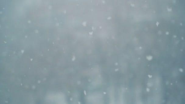 Pomalý pohyb padajícího sněhu. Zimní rozmazané pozadí. sněží sen. Zimní chladné počasí