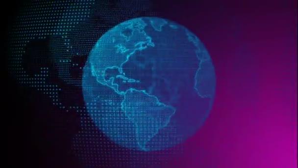 Oddálit - digitální modrá planeta Země. 3D animace s rotující koulí se zářícími kontinenty. Abstraktní globální obchodní koncept.