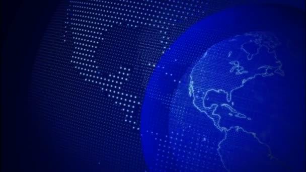 Digitální modrá planeta Země. Smyčná 3D animace s otočnou koulí s zářivou kontinenty. Abstraktní globální obchodní koncepce.