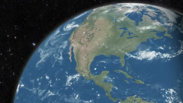 Planet earth from space. Day to night realistic world globe spinning slowly animation. Loopable 30 Seconds 3D animation - full revolution of the planet around its axis.