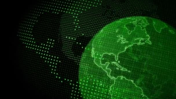 Digitální planeta Země. Přiblížení 3D animace s otáčející se koulí s zářivou kontinenty. Abstraktní globální obchodní koncepce.