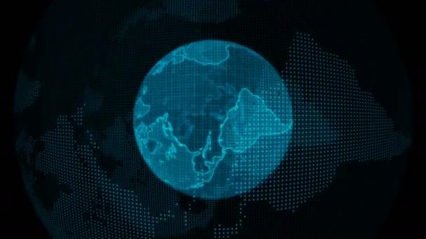 Digitální modrá planeta Země. Smyčná svislá 3D animace s otočnou koulí s zářivými kontinenty. Abstraktní globální obchodní koncepce.