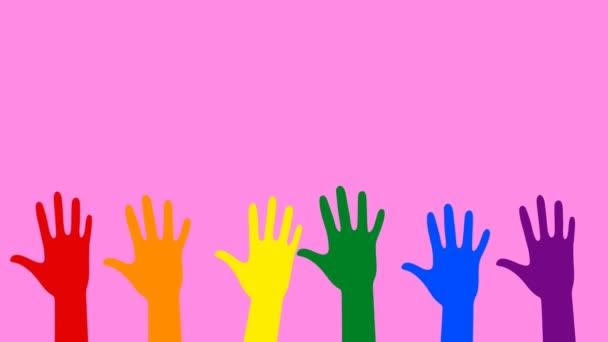 Vyvolávání rukou-různých barevných rukou při hlasování nebo pozdravu. Koncept LGBT komunity. Abstraktní grafika v moderních barvách a stylu. Plynulá smyčka animace.