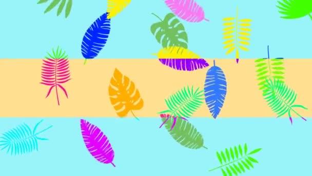minimale Bewegungsdesign-Animation. tropische Blätter fallen und rotieren auf farbigem Hintergrund. abstrakte Grafiken in trendigen Farben und Stil. nahtlose Looping-Animation.