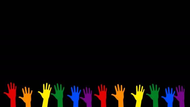 Hände heben - verschiedene bunte Hände, die abstimmen oder grüßen. Konzept lgbt Community. abstrakte Grafiken in trendigen Farben und Stil. nahtlose Looping-Animation.