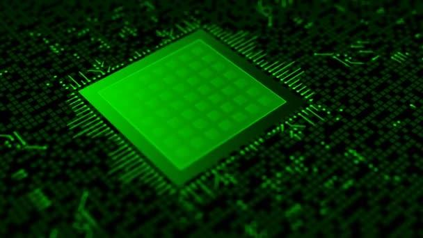 Futuristická animace symbolu visacího zámku na mikroprocesoru na desce elektronických obvodů. Abstraktní globální koncepce zabezpečení a technologie.