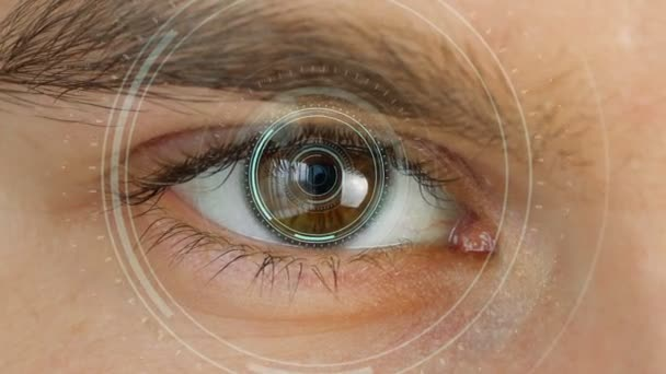 Close up to human eye with futuristic vision system . Control and protection of persons, control and security in the accesses technology. Concept of vision and control and protection.