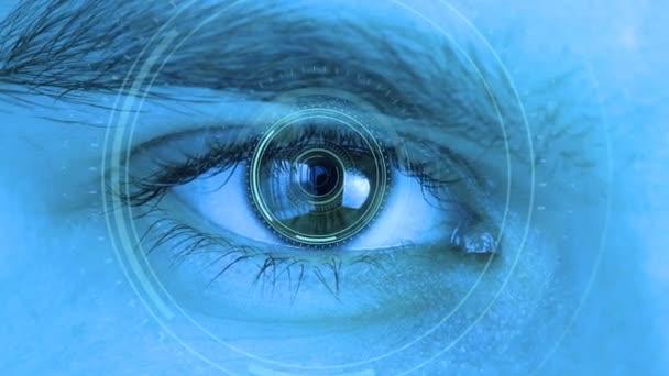 K lidskému oku se blíží futuristický systém vidění. Řízení a ochrana osob, kontrola a bezpečnost v technologii přístupu. Koncepce vize a kontroly a ochrany.