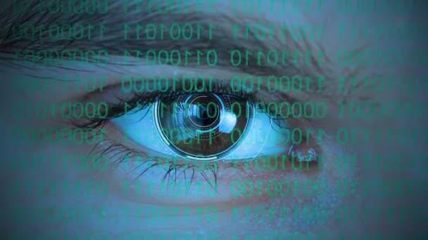 Lidské oko s futuristickým systémem se dívá na kód zdrojového programu. Koncepce hackingu a počítačové kriminality, řízení a ochrany.