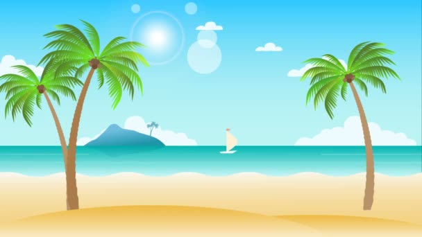 Beauty beach landscape animation with palm trees. Seamless loopable background.