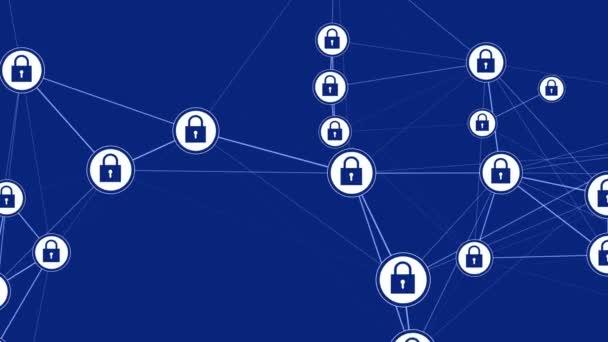 digitale Schnittstelle mit Schloss-Icons und Links wächst. Datenschutz und Medienumgebungskonzept für den Cyberspace. nahtloser lückenloser Hintergrund.