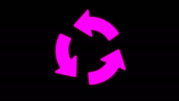 Arrows spinning counterclock-wise animation isolated on black background