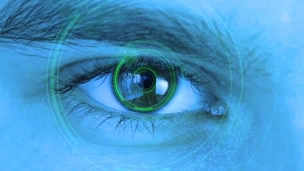 Lidské oko s futuristickým systémem vidění. Řízení a ochrana osob, kontrola a bezpečnost v technologii přístupu. Koncepce kontroly a ochrany zraku.