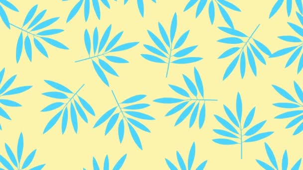 Minimal motion design animation. Tropical leaves move and wiggle at color background. Abstract graphics in trendy colors and style. Seamless looping animation.