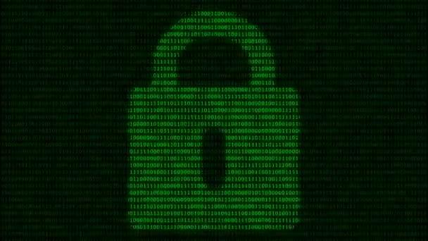 A lakat szimbólum animációja bináris kódháttérben. Absztrakt globális biztonsági és technológiai koncepció. Folytonos hurok absztrakt háttér.