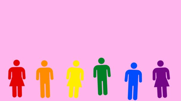 Aufzucht von Menschen - verschiedene bunte Menschen - Mann und Frau Symbole. Konzept lgbt Community. abstrakte Grafiken in trendigen Farben und Stil. nahtlose Looping-Animation.