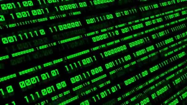 Bináris kód háttér számjegyek a képernyőn. Bináris algoritmus, adatkód, visszafejtés és kódolás. Mély a mezőhatás. Folytonos hurok absztrakt háttér.