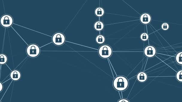 Digitální rozhraní, ve kterém jsou ikony Lock a odkazy rostoucí. Koncepce ochrany dat a kybervesmírných médií. Nepřerušitelné opakování pozadí.