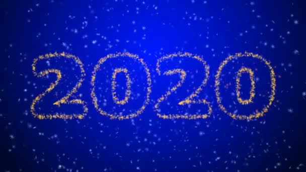 Happy new year 2020 sparkling year lettering blue background. Merry Christmas and Happy New Year background. Snowflakes on a black background.