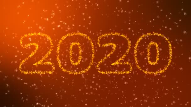 Happy new year 2020 sparkling year lettering gold background. Merry Christmas and Happy New Year background. Snowflakes on a black background.