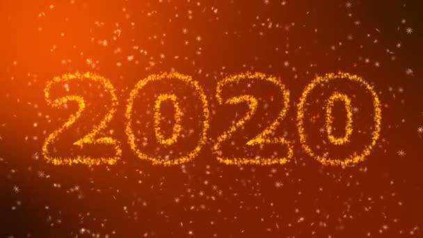 Boldog új évet 2020 csillogó év felirat arany háttér. Boldog karácsonyt és boldog új évet háttér. Hópelyhek fekete alapon.