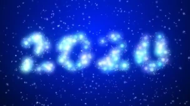 Boldog új évet 2020 csillogó év betűző részecskék kék kék háttér. Boldog karácsonyt és boldog új évet háttér.