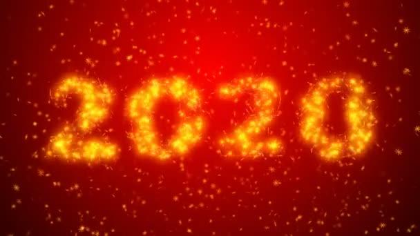 Šťastný nový rok 2020 jiskřivý rok s červeným pozadím částic. Veselé Vánoce a šťastný nový rok pozadí.