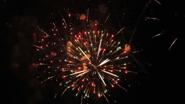 Zeitlupe eines echten Feuerwerks auf tiefschwarzem Hintergrund. 4k Clip von wunderbaren Feuerwerk für Hintergrund