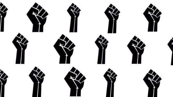 Fekete ököl mozog - animáció fehér háttérrel. BlackLivesMatter ököl nemzetközi emberi jogi mozgalom jel.