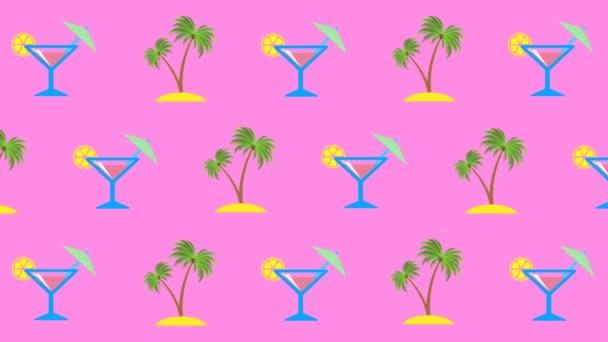 Nyári vakációk és tengerparti nyaralás a trópusi országokban koncepció. Absztrakt grafika trendi színekben és stílusban. Zökkenőmentes hurkolt mozgás grafikus animáció.