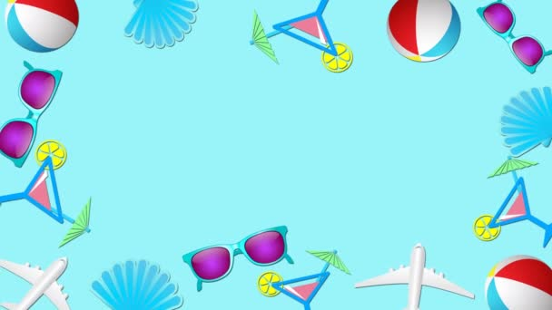 Summer vacations and beach holidays in tropical countries concept. Abstract frame in trendy colors and style. Seamless looped motion graphic animation.