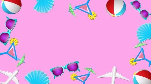 Nyári vakációk és tengerparti nyaralás a trópusi országokban koncepció. Absztrakt keret trendi színekben és stílusban. Zökkenőmentes hurkolt mozgás grafikus animáció.
