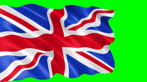 United Kingdom flag waving in the wind. Realistic flag background. Looped animation green background.