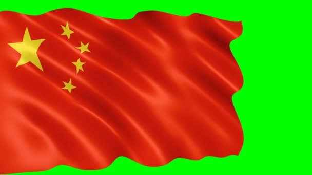 Chinese flag waving in the wind. Realistic flag background. Looped animation green background.
