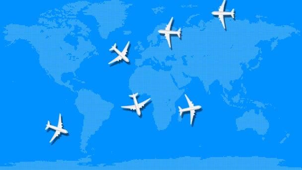 Animace letadel přeletí nad modrou mapou světa. Letní prázdniny a pojetí cestování. Bezproblémová pohybová grafická animace.