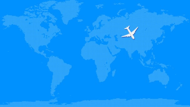 Airplane animation fly over around blue world map. Summer vacations and travel concept. Seamless looped motion graphic animation.