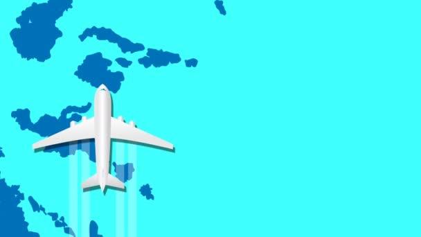 Animace letadla letí nad abstraktní modrou mapou světa. Letní prázdniny a pojetí cestování. Bezproblémová pohybová grafická animace.